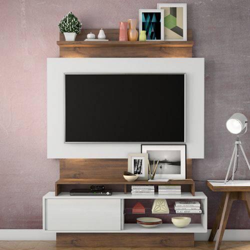 Estante Home para Tv Até 42 Polegadas 1 Porta Led Tb111l Dalla Costa Off White/nobre