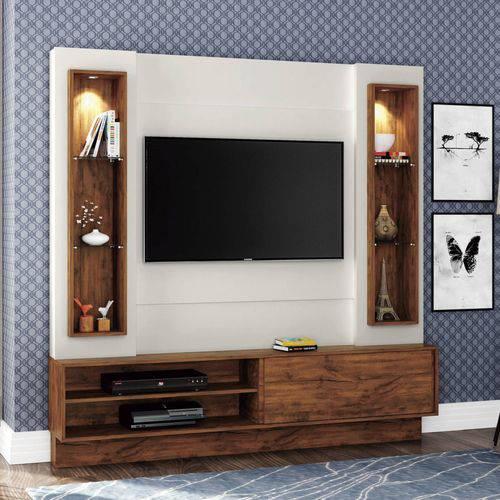 Estante Home para Tv Até 42 Polegadas 1 Porta Led Tb128l Dalla Costa Branco Off White/nobre