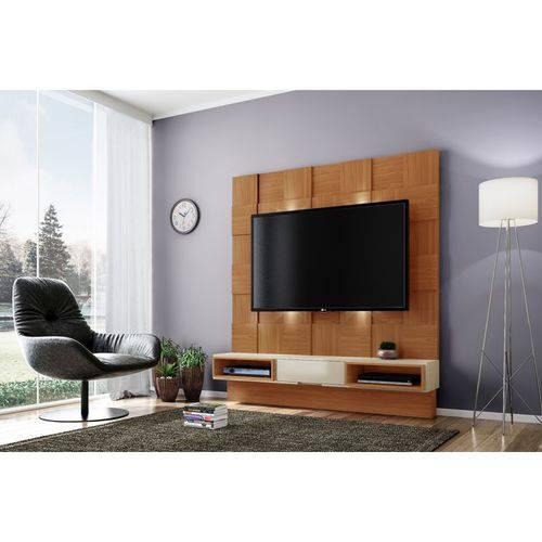 Estante Home para TV Até 40 Polegadas Quadriculado LED TB125L Dalla Costa Freijó/Off White