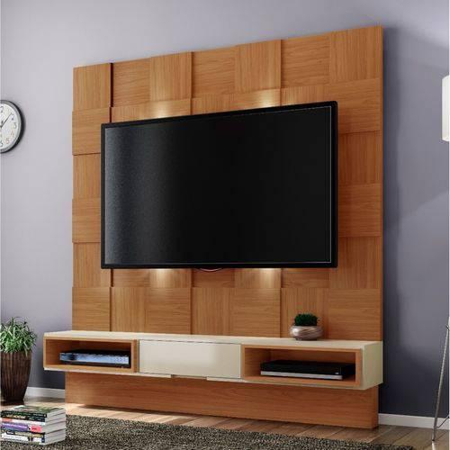 Estante Home para Tv Até 40 Polegadas Quadriculado Led Tb125l Dalla Costa Off White/nobre