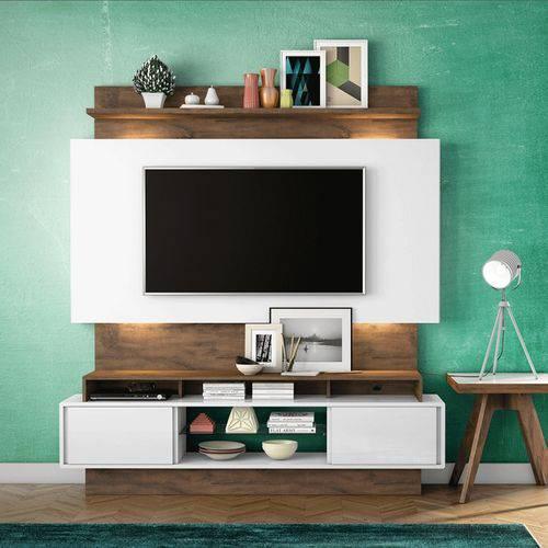 Estante Home para Tv Até 55 Polegadas 2 Portas de Correr e Led Off White/nobre