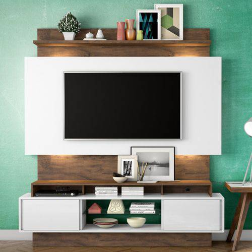 Estante Home para Tv Até 55 Polegadas 2 Portas Led Tb112l Dalla Costa Off White/nobre