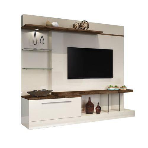 Estante Home Theater Allure para TV Até 60 Pol Off White e Deck HB Móveis
