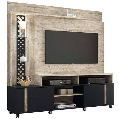 Estante Home Theater para Tv Até 55 Pol. Vitral Aspen/preto - Hb Móveis