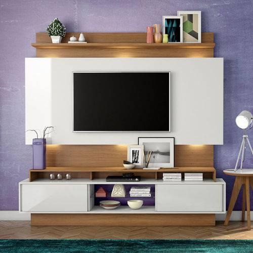 Estante Home Theater para Tv Até 55 Polegadas 2 Portas de Correr Off White/freijo