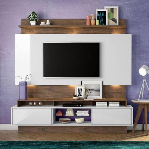 Estante Home Theater para Tv Até 55 Polegadas 2 Portas de Correr Off White/nobre