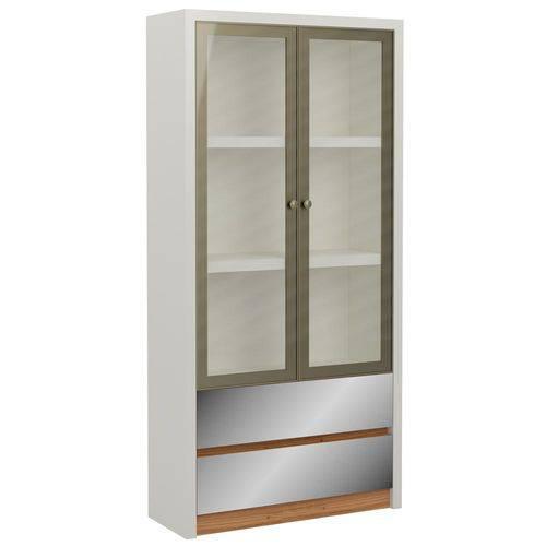 Estante P/ Livros 2 Portas 2 Gavetas 90cm Tc613e Off White/Freijo - Dalla Costa