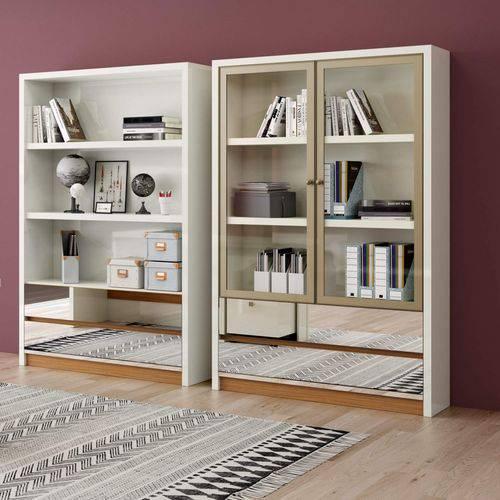 Estante para Livros 2 Portas de Vidro 2 Prateleiras 2 Gavetas Espelhadas 120cm Clássico Dalla