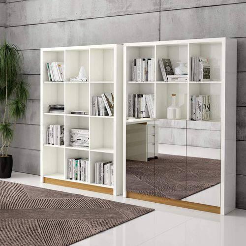 Estante para Livros 3 Portas Espelhadas 3 Prateleiras Nichos 120cm Clássico Dalla Costa Off