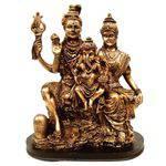 Estátua Família Shiva Parvati e Ganesha Indiano Cor Ouro.
