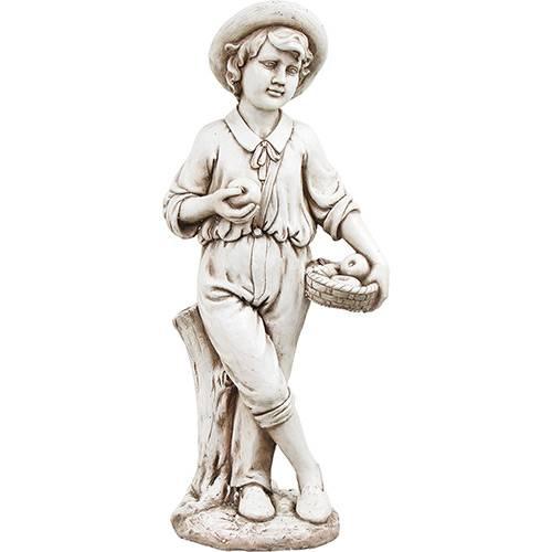 Estátua Menino com Cesto de Maças Resina e Fibra de Vidro Cinza - Greenway