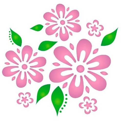 Estêncil para Pintura Simples 14x14 Flores e Folhas - Opa1056 - Opa