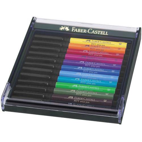 Estojo de Canetas Pitt Faber Castell Mix de 12 Tons Intensas - Ref 267421