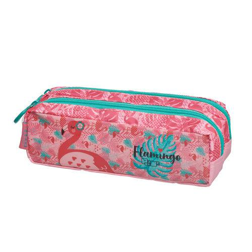 Estojo Duplo Simples Pack me Flamingo