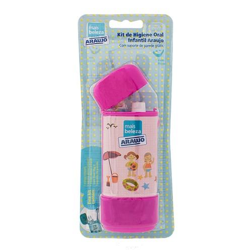 Estojo Infantil Araujo para Higiene Oral Rosa Contém 1 Creme Dental 50g + 1 Escova Dental + 1 Estojo + Suporte de Parede Grátis