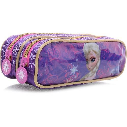Estojo Infantil Dermiwil P Soft com 2 Compartimentos Elsa Roxo Frozen