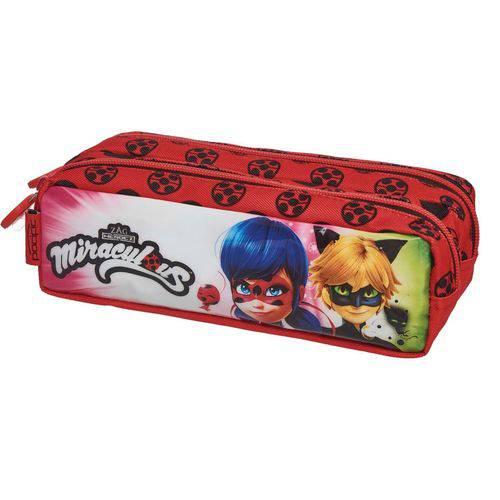 Estojo Tecido Ladybug Miraculous Duo 2 Zíperes