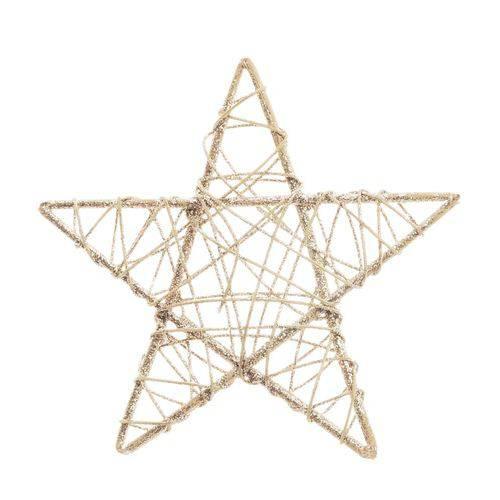 Estrela Rattan Decoração Natal 20cm Nude