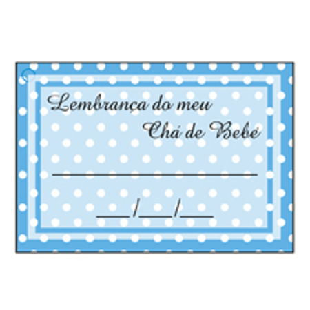 Etiqueta Lembrança Chá de Bebê Azul Poá