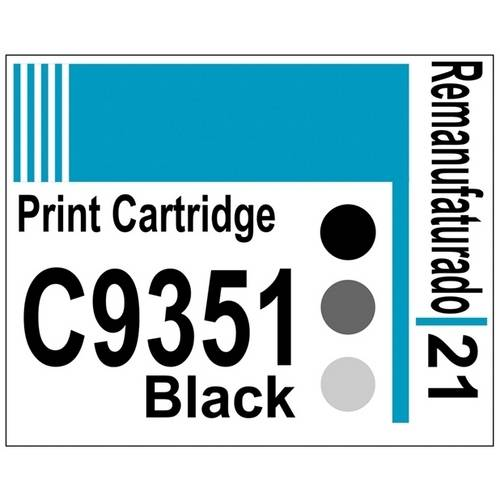 Etiqueta para Cartucho Hp21 Black (C9351) - 10 Unidades