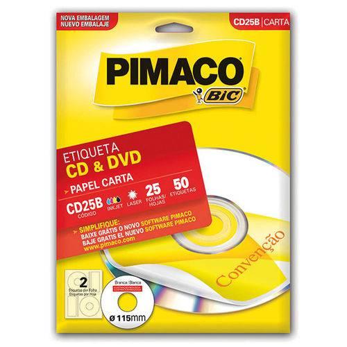 Etiqueta para Cd e DVD Cd25B Carta 25 Fls 115 Mm Ct.C/50 Pimaco