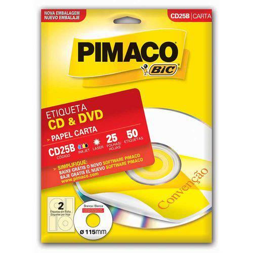 Etiqueta Pimaco Cd25b Cartela Caixa 25 Folhas