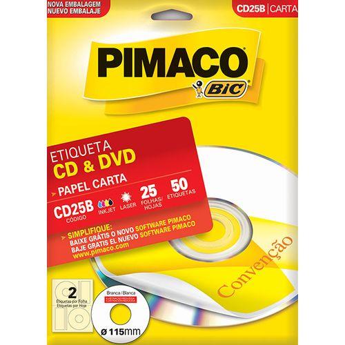 Etiqueta Pimaco Ink Jet Cd/dvd 60178