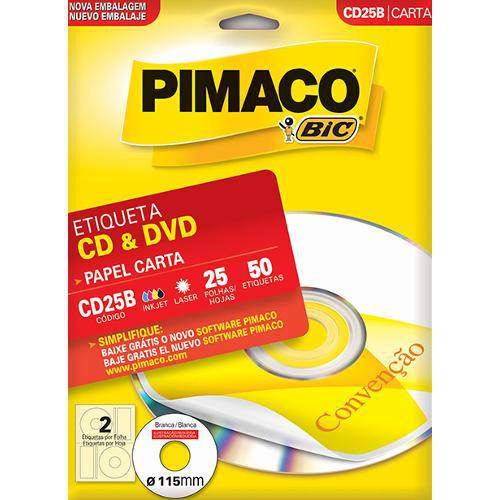 Etiqueta Pimaco Ink Jet Cd/Dvd