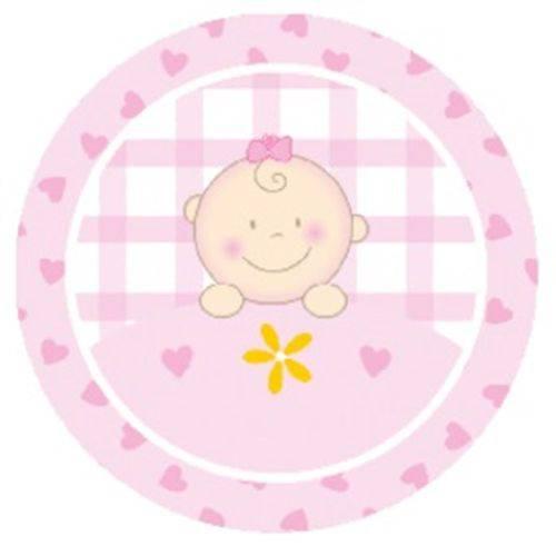 Etiquetas Cromos para Latinha Mint To Be de 4cm - 50 Unid - Baby Menina