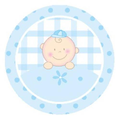 Etiquetas Cromos para Latinha Mint To Be de 4cm - 50 Unid - Baby Menino