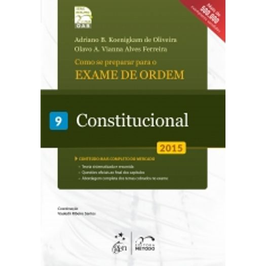 Exame de Ordem - 1 Fase - Constitucional - Vol 9 - Metodo