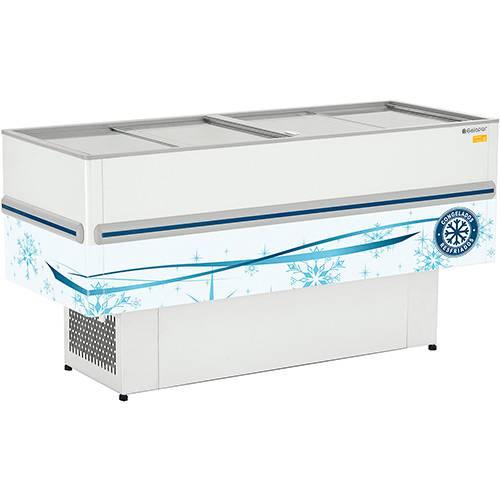 Expositor Ilha POP Dupla Ação - Congelados ou Resfriados Vidro Reto Deslizante - Colarinho em PVC - GESV-190 110V