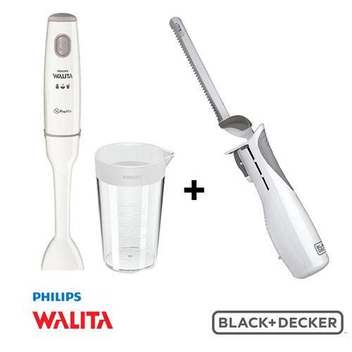 Faca Elétrica KFEK100T 127v Black & Decker + Mixer Philips Walita Pro RI1604 127v