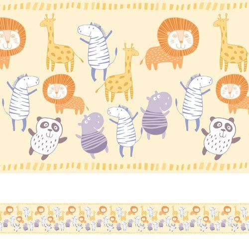 Faixa Decorativa para Quarto de Bebê Animais 5mx10cm