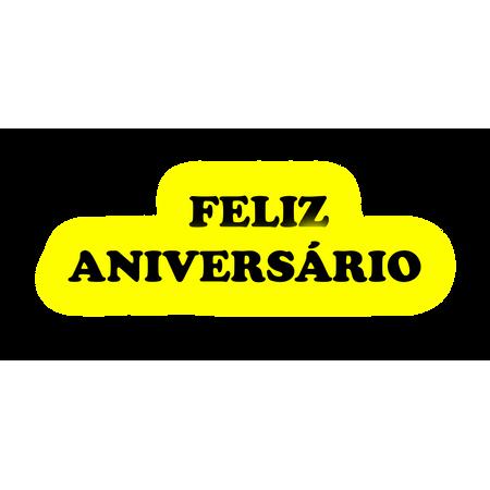 Faixa Feliz Aniversário EVA Amarelo C/ Preto