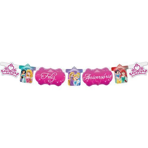 Faixa Feliz Aniversário Princesas - 1 Unidade - Regina Festas
