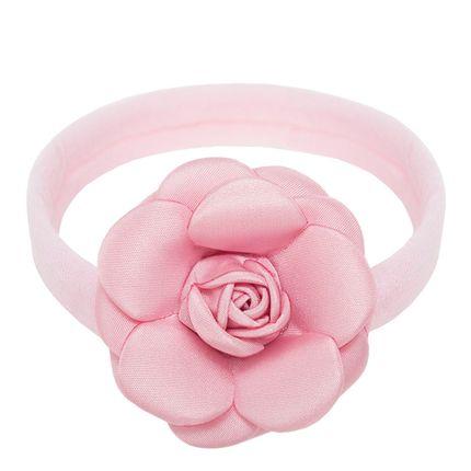 Faixa Meia Recém-nascido Flor Rosa - Roana