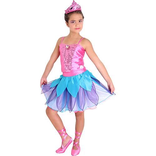 Fantasia Barbie Sapatilhas Mágicas Luxo M - Rosa e Azul - Sulamericana