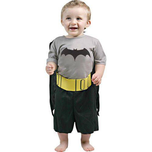 Fantasia Bebê Sulamericana Pop Batman Preto/Amarelo P