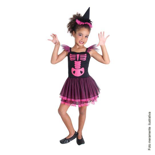 Fantasia Bruxa Esqueleto Infantil Pink M