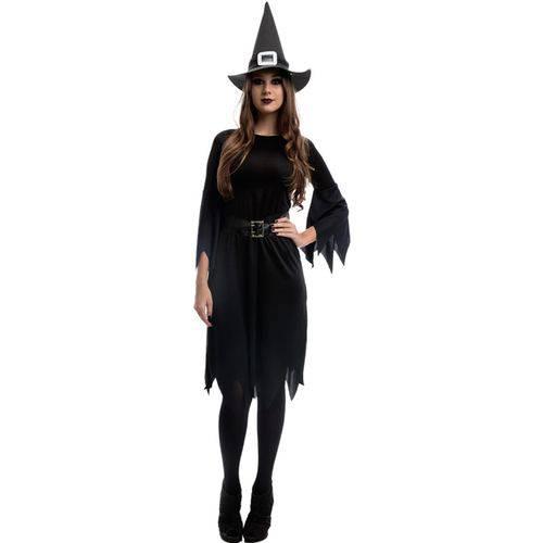 Fantasia Bruxa Feiticeira Úrsula com Chapéu Halloween Adulto