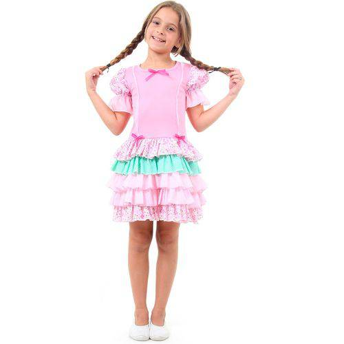 Fantasia Caipira Infantil com Babados Luxo Rosa Festa Junina