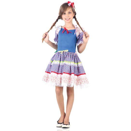 Fantasia Caipira Laços Infantil Azul - Festa Junina P