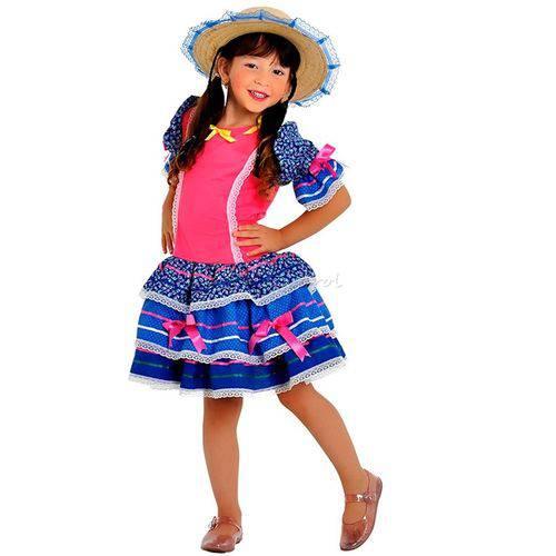 Fantasia Caipirinha Infantil Luxo com Chapéu Sulamericana - M 5 - 8