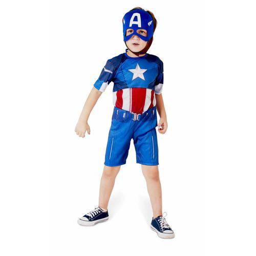Fantasia Capitão América Curta Infantil Rubies