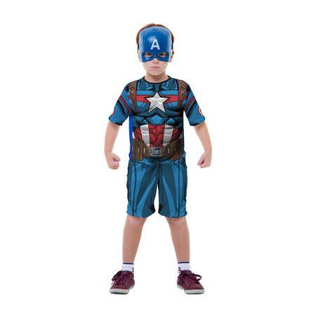 Fantasia Capitão América Curta - Tamanho P