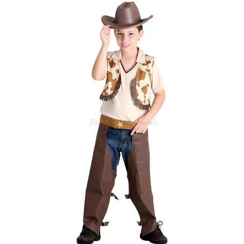 Fantasia Cowboy / Vaqueiro Infantil de Luxo Completa com Chapéu - P 2 - 4