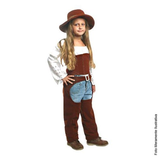 Fantasia Cowgirl Infantil Luxo - Festa Junina P