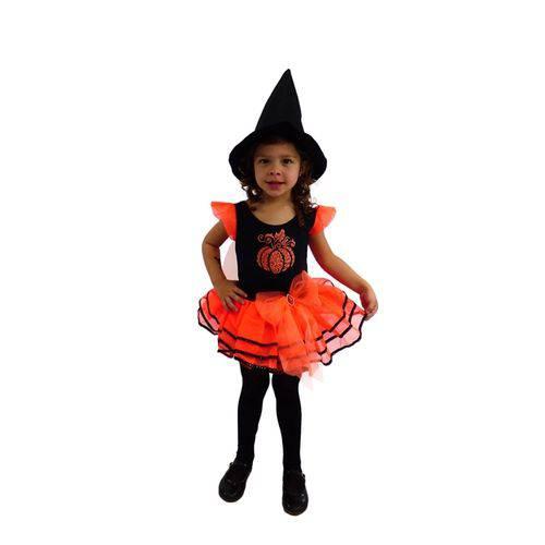Fantasia de Bruxa Abóbora com Chapéu Halloween Infantil