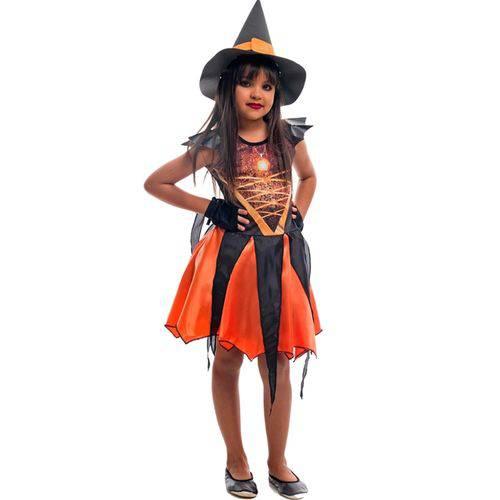 Fantasia de Bruxa com Chapéu e Luvas Angeline Laranja Halloween Infantil